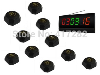 wireless table paging system,for restaurant,coffee shop and so on,10 black single call bell and 1 display