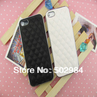 CC Logo New Sheep Skin Leather Case For Apple iPhone 5 5G 5S mobile phone Luxury Designer Hard BackCover FreeShipping Sample 1PC
