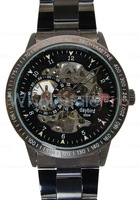 WholesalePro Daybird Men's Black Dial Water-Resistant Stainless Steel Back Skeleton Automatic  Machanical Watches