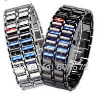 1pcs/lot freeshipping hot sale fashion design lava watch,samurai binary watches,Janpan Inspired multi-color/red/blue led light,
