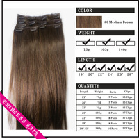 """Wholesale 15""""-28"""" Women's Human Hair Remy Straight Clips In Extensions Medium Brown #6"""