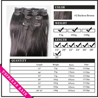 """Wholesale 15""""-36"""" Women's Human Hair Remy Straight Clips In Extensions Darkest Brown #2"""