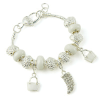 Fashion European Style 925 Silver Pan Crystal Charm Bracelets With White Murano Glass Beads Handmade Jewelry PA1336