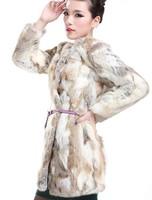 2014 new 100% real natural rabbit fur coat  fancy patchwork medium-long fur coat O neck long sleeves women fur coat long WTP2