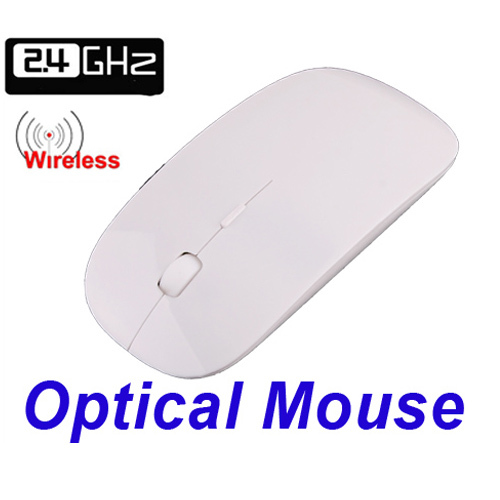 2.4G Wireless Ultra Thin Optical Mouse Computer Peripherals White for Laptop Notebook(China (Mainland))