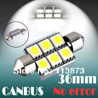 10pcs 36mm 6 SMD 5050 Pure White Dome Festoon CANBUS OBC Error Free Car 6 LED Light Lamp Bulb  Parking Car Light Source