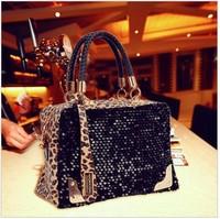 HOTHOT!!2014 casual women's handbag leopard print paillette bag shoulder bag handbag messenger bag women's handbag free shipping