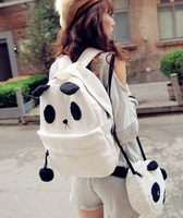 HOT SELL!!!!2013 Bear school bag panda bag backpack bag pompon canvas backpack casual women's handbag