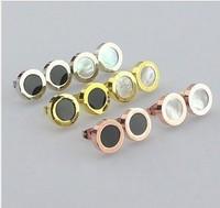 Gorgeous Pure 316L Titanium Steel 18K Rose gold imitation diamond stud earrings  E134