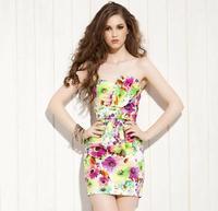 Free Shipping Tube Dress/ Floral Mini Dress/ Ladies' Beachwear/ Slim Casual Dress/ Sweety Sexy Girls' Wear