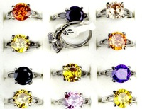 Fashion Lots 50pcs Multicolor CZ Rhinestone Womens Lady Silver P Rings Wholesale