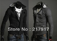 FREE SHIPPING fashion thicken men's hoodies men's jacket dust coat outwear black&gray 5 sizes autumn