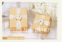 candy box , golden gift box with artificial flower ribbon decoration, DS01-M size , gift package, wedding favors, free shipping