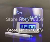 FREE SHIPPING USB LED Message Clock Fluorescence Alarm Clock with Memo Board&Calendar&4 Port Hubs Blue Green