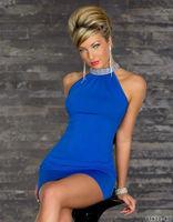 Women Halter Bare shoulder Blue/Purple dress Mini Skrit Night Club Nightclub Clubwear Dress 8865