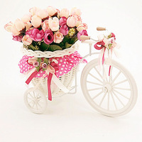 Free shipping,Beautiful tricycle woven artificial flower set Decorative Flowers  (FL130042)