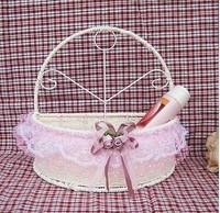KINGART Lace storage basket cosmetics storage basket wall basket flower basket wall decoration