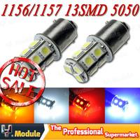 10PCS/lot 1156 BA15S P21W LED 13 SMD 5050 Brake Tail Turn Signal Light Bulb Lamp 12V white blue yellow red