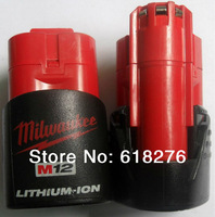 FREE SHIPPING 2Packs/lot  Milwaukee M12 12V lithium-ion battery rechargeable for power tool