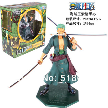 "Free Shipping Cool 9.5"" One Piece P.O.P POP Roronoa Zoro After 2 Years PVC Action Figure Collection Model Toy OPFG168"