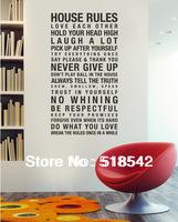 Free Shipping:Hot Selling HOUSE RULES English Vinyl Wall Decals/Removable Waterpoof Wall Stickers/Wall Quotes size:60*120cm