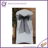 BS014 wholesale 50pcs new sheer organza black wedding banquet decoration chair sashes bow