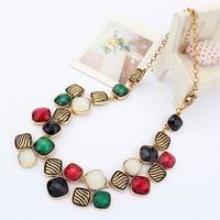 Vintage Geometric Resin Gem Shorts Gold Chain Choker Statement Necklaces & Pendants New 2014 Fashion Jewelry Women Wholesale T19