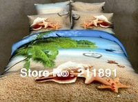 Yellow Beach Bule Ocean 3d bedding sets queen size 4pcs luxury Shell starfish comforter duvet cover bed sheets bedclothes cotton