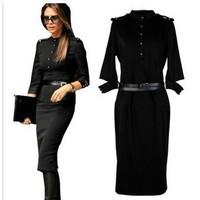 Womens dresses fashion 2014 Stand-Up Collar 3/4 Sleeve Slim Fit Belt vintage Pencil With Epaulettes,victoria beckham Black dress