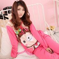 Hot sales Winter Woman sleepwear cartoon Yau giggle monkey lady long sleeve Pyjamas set cute sleepwear leisure wear