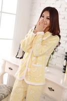 Sweet love pink coral fleece long sleeve leisure wear pajamas suit  4color women tracksuit