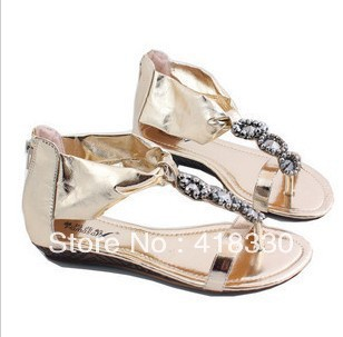 style comfortable all-match flip-flop flat sandals beige summer women