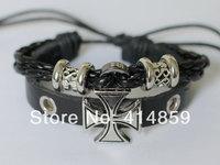 017 Black man leather bracelet Leather rope woven Cross bracelet men Medieval style Fashion jewelry gift
