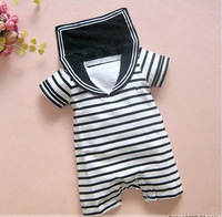 Free shipping,1 pcs/lot,baby romper /wear  navy suit / Sailor Romper, 100%cotton,size:80-90-95,color : black,hot