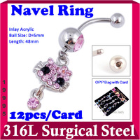 Hello Ketty Dangle Belly Button Rings Surgical Steel Navel Rings Acrylic Barbel Body Piercing Jewelry Mix 12pcs/lot 19995