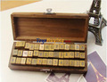 wholesale 50set/lot 42pcs set Vintage upper case alphabet& number wooden rubber stamp -Schoolbook Style +EMS/FEDEX Free shipping