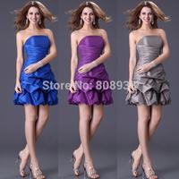 Fast Delivery Grace Karin Cute Western Girl Short Bridesmaid Dress Gray Black Royal Blue Purple 4098