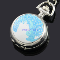 FREE SHIPPING  New Enamel Picture Mirror Blue peacock Women Ladies Silver Tone  Necklace  Pendant discount wholesale watches