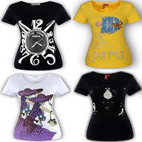 HOT!  new 2014 Fashion arrival Diamond clock short sleeve sequined fish cat women's t-shirt cotton tshirt numbers 5XL K0033