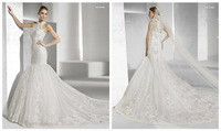 Fabulous Delicate  Best Selling  wedding ddress Halter Lace Appliquess beading mermaid Royal train weddig gowns