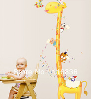 Free shipping:Kid's Height Measuresment DIY Removable giraffe Wall Stickers  for Kid's Room nursery decoration sticker