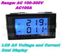 FreeShipping LCD Digital Black AC voltmeter ammeter AC100-300V Voltage Current Meter 2in1 Panel Meter Voltmeter Ammeter AC0-100A