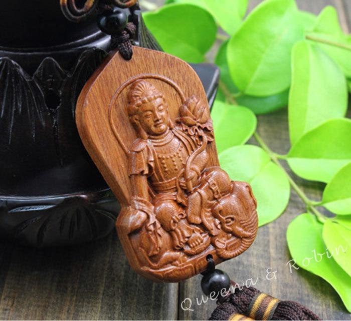 - Wood-Crafts-Carving-Chinese-Knot-Buddhism-Lotus-Kwan-Guan-Quan-Yin-Bodhisattva-Statue-Sculpture-Amulet-Car