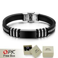 OPK JEWELRY  Stainless steel  jewelry silicone Bracelet   Jewelry New Arrivel black gold  800