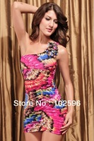 2013 New Fashion,One-shoulder Mini Dress With Feather Print,4 colors Free Shipping