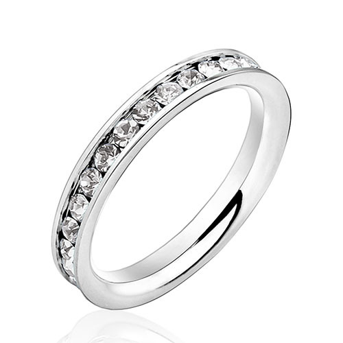 Hot Ring Gifts Jewelry Womens 316L Stainless Steel .1Ct Rings Eternity Ring Accessories for Wedding & Events (Sil