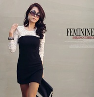 Free shipping 2013 new large size women the lace stitching Slim was thin bottoming long-sleeved dress