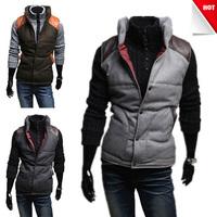 2013 new Men's woolen vest PU leather stitching British stylish male vests 3 color 4 size 124003