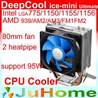 80mm fan, 2 heatpipe, Intel LGA775/1155/1156/1150, AMD FM1/FM2/AM3+/AM2+, CPU radiator CPU Fan, DeepCool ice mini Ultimate
