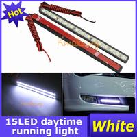 A pair Auto led Daytime Running Light White 5050 SMD Kit 15LEDs Car 12V Bulb DRL lights Driving Fog Lamp free shipping